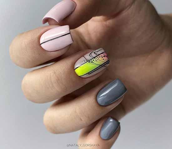 Fashionable yellow-gray manicure