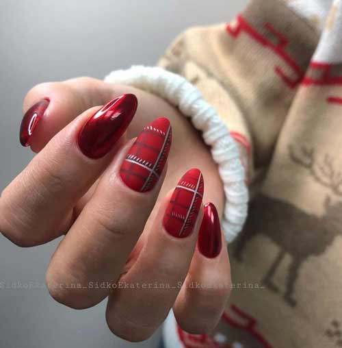 Red and black cage on the nails