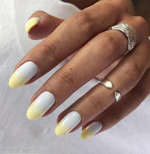 White and yellow manicure