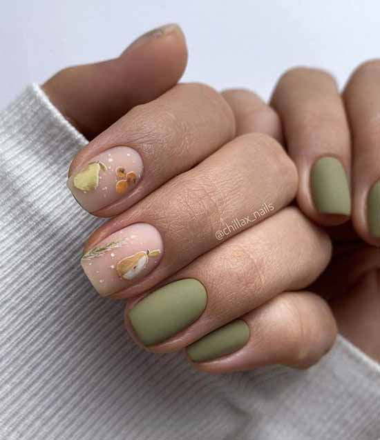 Fashionable beige and green manicure