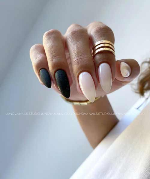 Black almond nails design