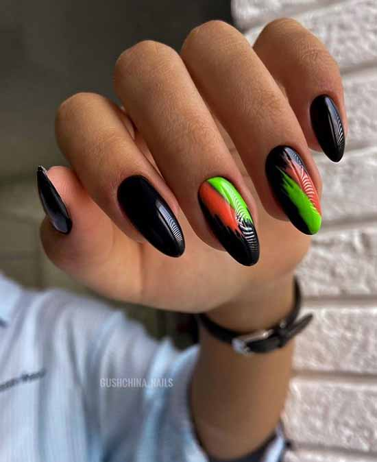 Black with neon manicure