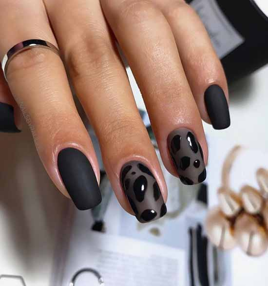 Black with veil effect manicure