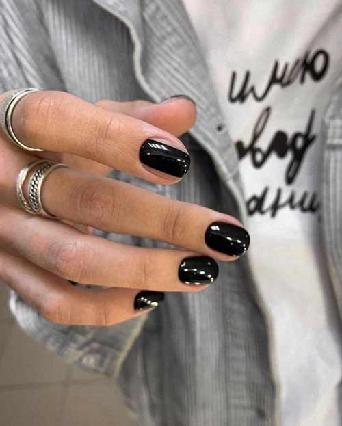 Solid black manicure