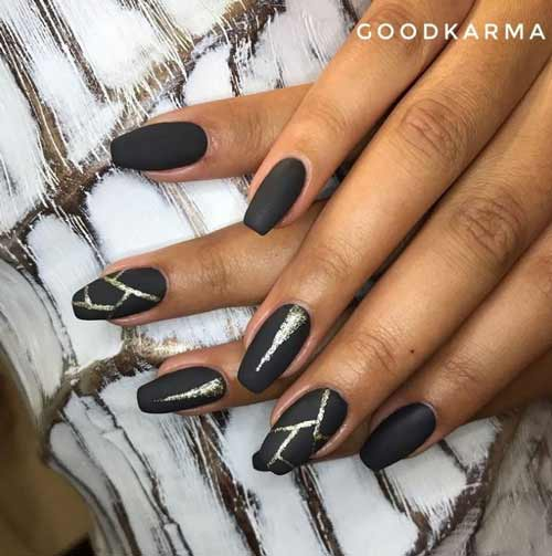 Black long manicure