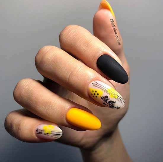 Black and yellow manicure