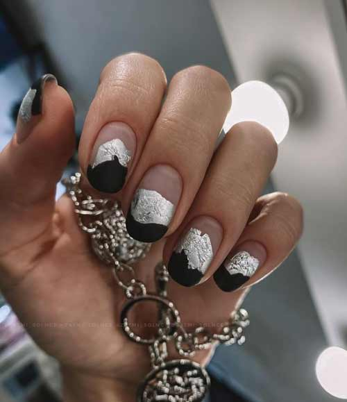 Black with foil manicure