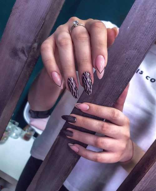 Long nails black manicure