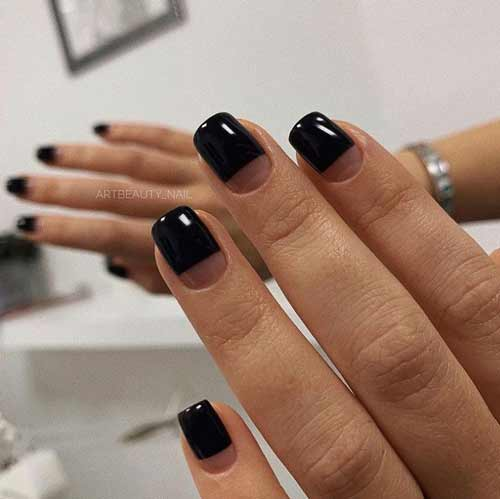 Solid black french manicure
