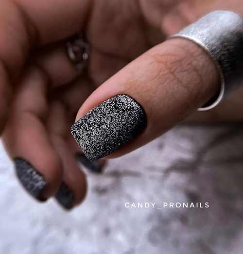Black with silver manicure