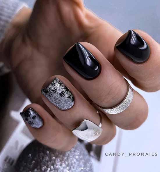 Black silver manicure