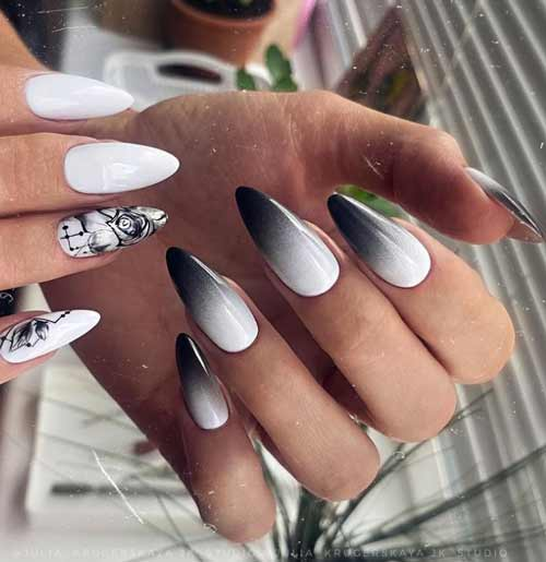 Black and white ombre on nails