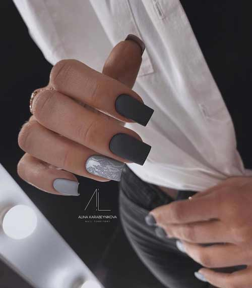 Matte black and gray manicure