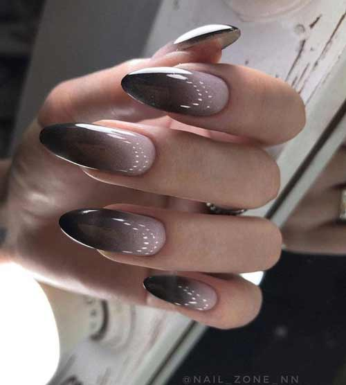 Black and beige ombre manicure