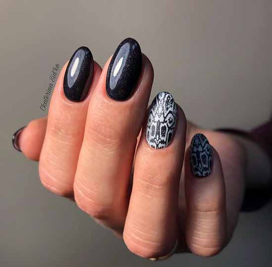Black manicure 2021: photo, original design