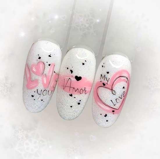 Heart drawings manicure