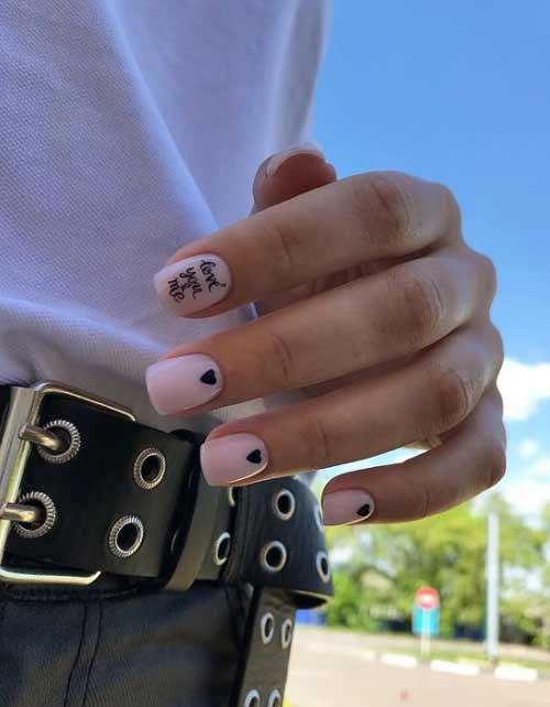 Black heart design nails