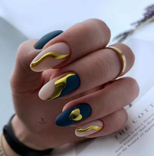 Gold heart on nails design rubbed