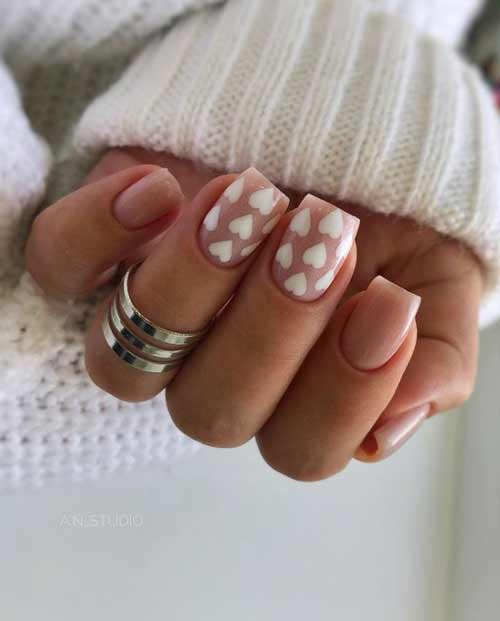 White heart on nails
