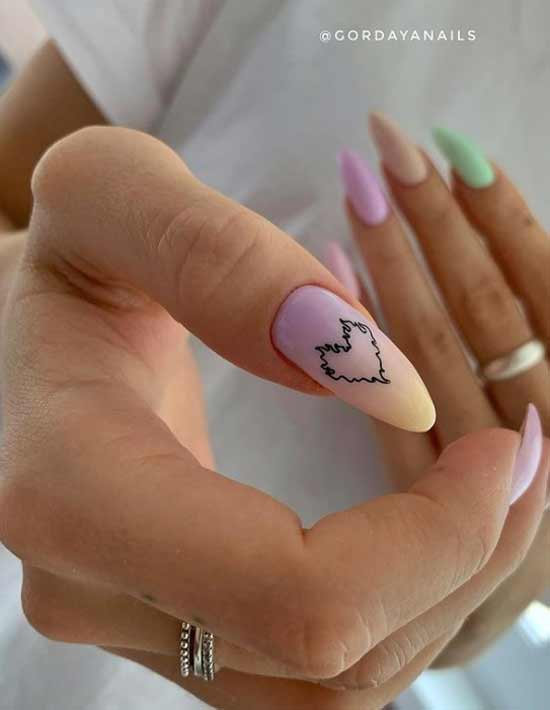 Manicure heart gradient