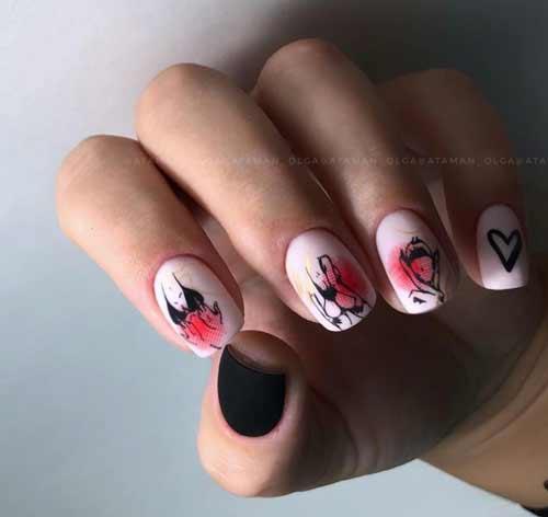 Matte heart design nails