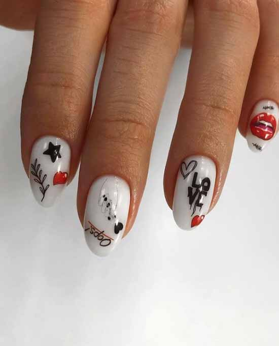White nails with a heart