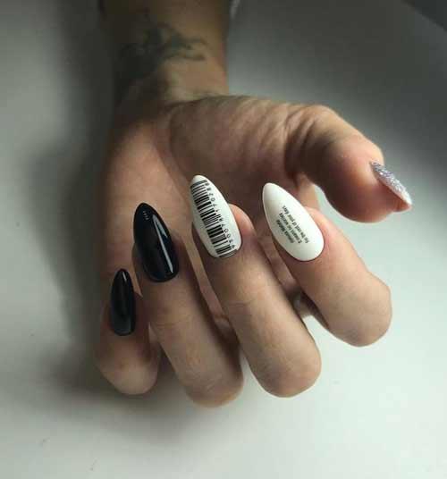 Black and white manicure design photo