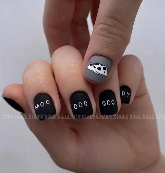 Fashionable manicure black + white
