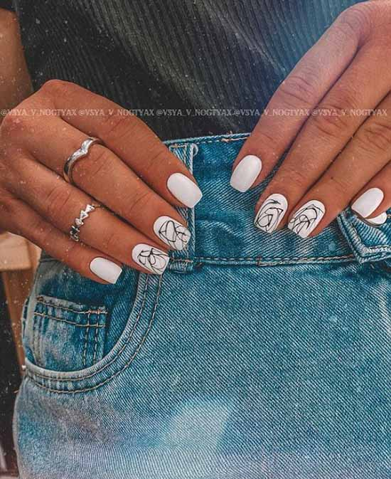 White with black manicure