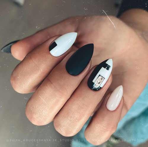 Sharp black and white nails