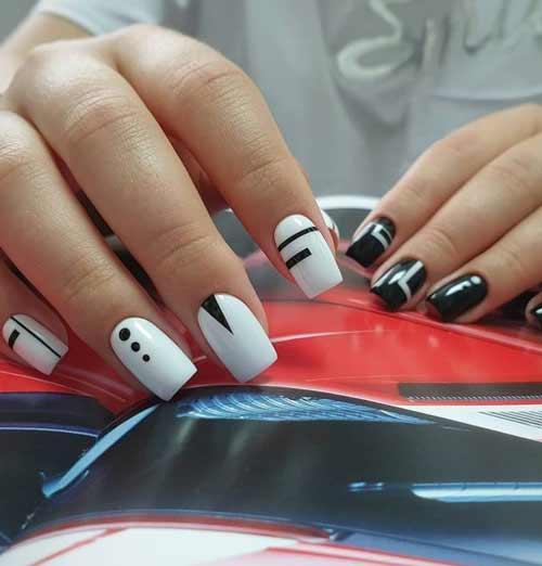 Black and white manicure design