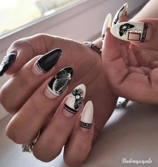 Black and white long nails