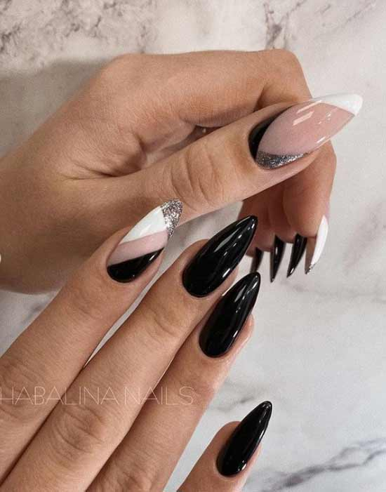 Black and white manicure long nails