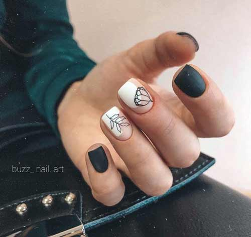 Black white and transparent manicure