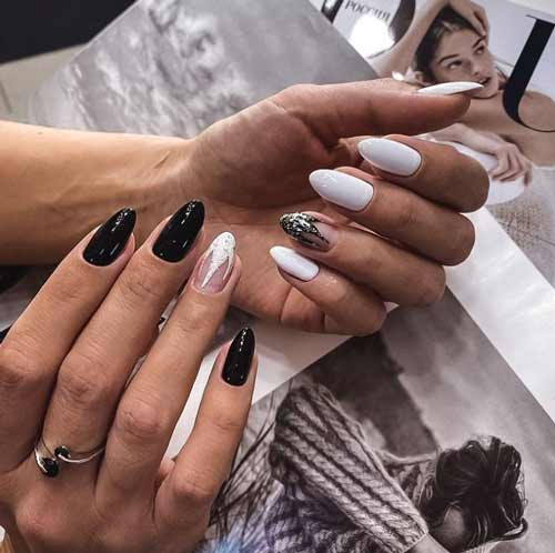 New Year's black and white manicure