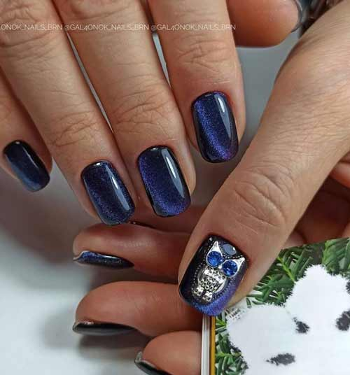 Blue manicure with magnetic varnishes