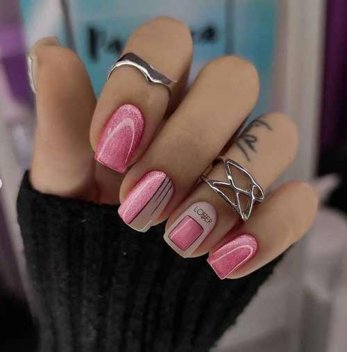 Pink cat eye manicure