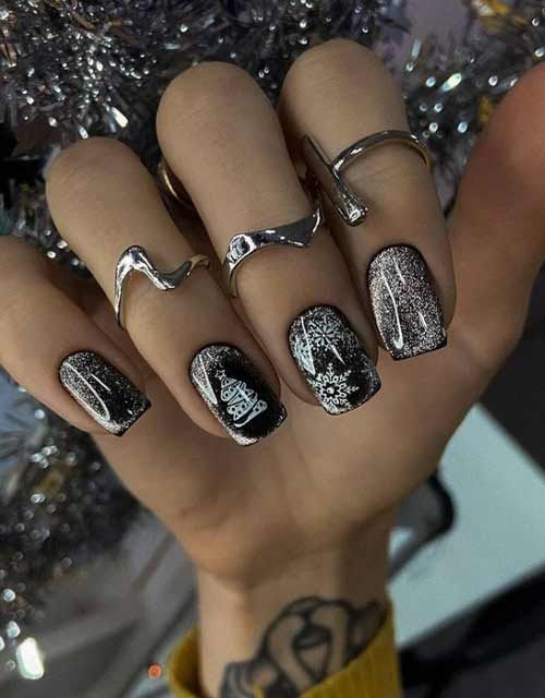 Silver cat eye manicure