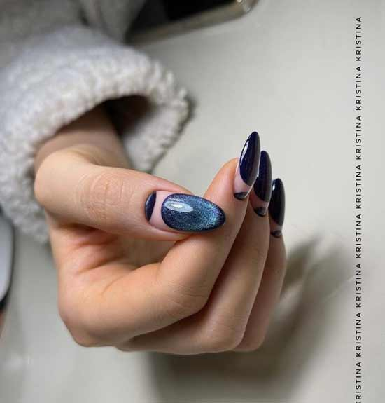 Blue moon manicure design cat