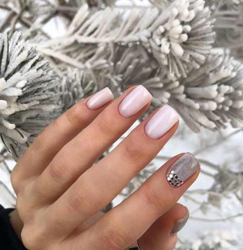Pink gray manicure design for the new year