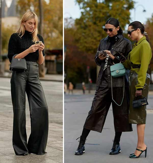 Colored leather skirt - fashionable look