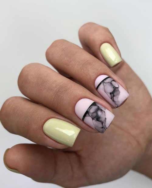 Beautiful marble manicure design