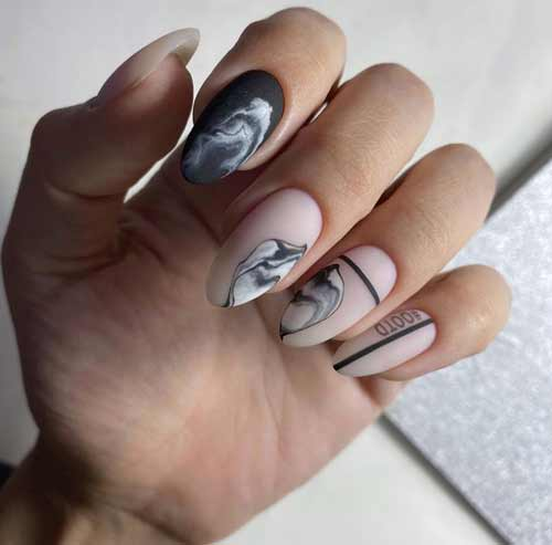 Gray marble manicure