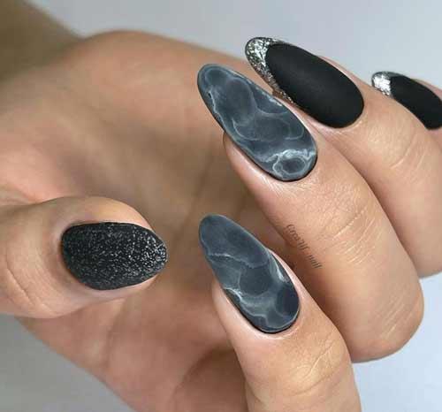 Matte black marble nails