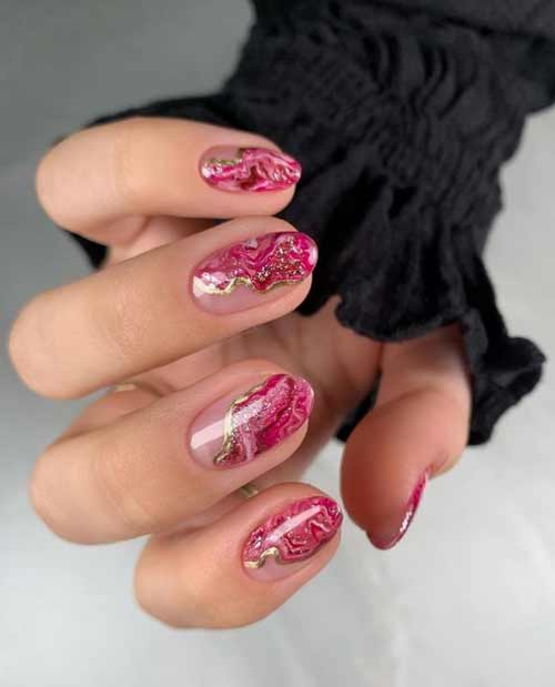Black marble manicure