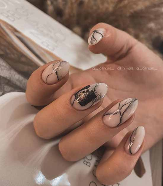Beige manicure marble on nails