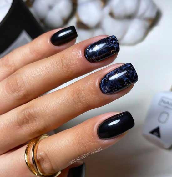 Manicure black marble