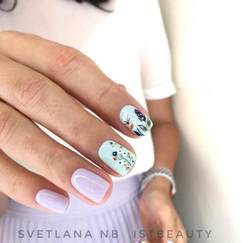 Fashionable manicure spring with a flower