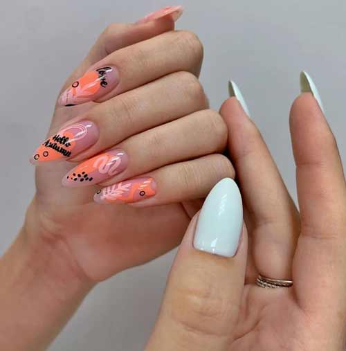 Fashionable spring manicure for long nails