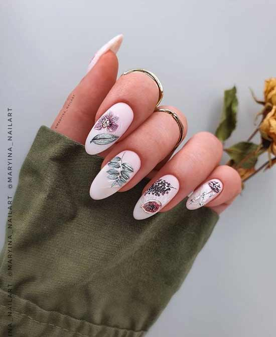 Fashionable spring manicure long nails